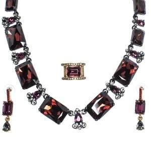 Oscar de la Renta Crystal Studded Ring Earrings & Necklace Set