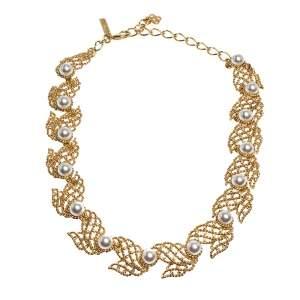 Oscar de la Renta Faux Pearl Gold Tone Necklace