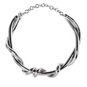Oscar de la Renta Silver Tone Modern Twist Necklace