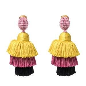Oscar de la Renta Multicolor Silk Tiered Tassel Clip-On Earrings
