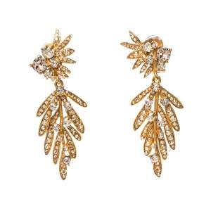 Oscar de la Renta Crystal Tropical Palm Clip-On Earrings