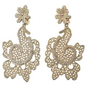 Oscar de la Renta Gold Filigree Floral Clip On Earrings