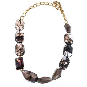 Oscar de la Renta Quartz Glass & Crystal Gold Tone Beaded Collar Necklace