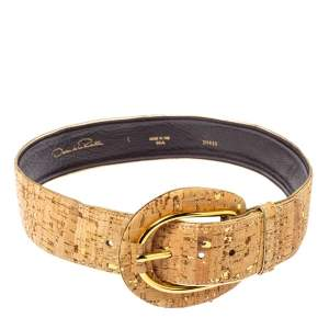 Oscar de la Renta Beige Cork and Leather Waist Belt