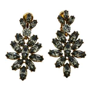 Oscar de la Renta Grey Crystal Navette Clip On Earrings