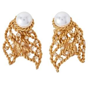 Oscar de la Renta Twisted Gold Tone Pearl & Crystal Clip On Earrings