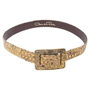 Oscar de la Renta Metallic Gold Python Belt 95CM