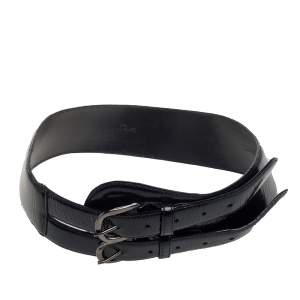 Oscar de la Renta Black Patent Leather Double Buckle Waist Belt M