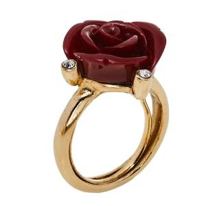 Oscar de la Renta Red Resin Rose Cocktail Ring Size EU 50.5