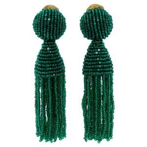 Oscar de la Renta Green Beaded Tassel Earrings