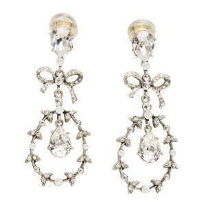 Oscar de la Renta Bow Drop Crystal Silver Tone Clip-On Drop Earrings