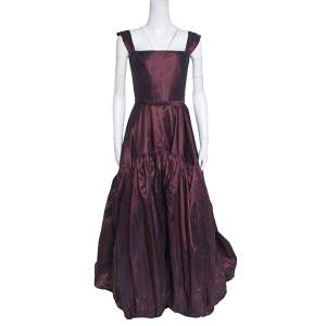 Oscar de la Renta Burgundy Silk Tiered Belted Sleeveless Gown S