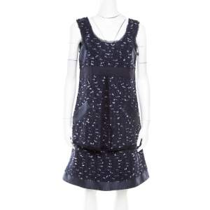 Oscar de la Renta Navy Blue Boucle Tweed Sleeveless Dress M