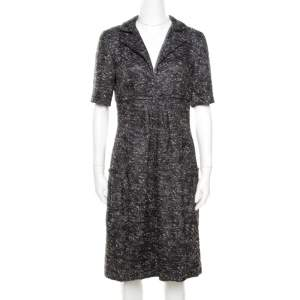 Oscar de la Renta Grey Textured Lurex Plunge Neck Detail Short Sleeve Dress M