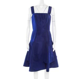 Oscar de la Renta Cobalt Blue Silk Fit and Flare Sleeveless Dress S