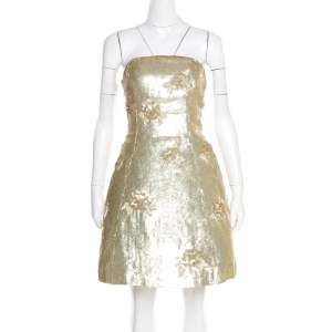 Oscar de la Renta Matte Gold Sequin Embellished Strapless Mini Dress S