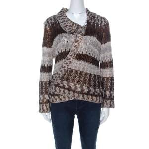 Oscar de la Renta Brown & Bronze Silk Knit Cardigan L