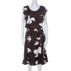 Oscar de la Renta Brown Abstract Print Silk Twill Ruffled Dress L