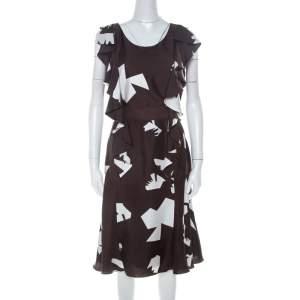فستان اوسكار دي لا رينتا مطبوع تجريدي منفوش تويل بني L