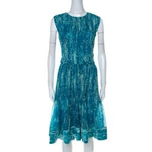 Oscar de La Renta Blue Printed Toile Silk Pleated Sleeveless Dress L