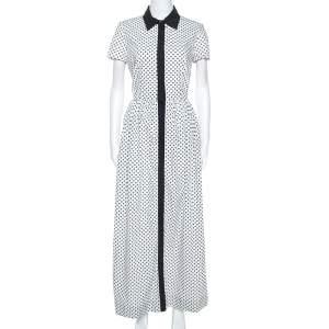 فستان أوسكار دي لا رينتا قميص حواف مغايرة قطن طباعة زهور أبيض S