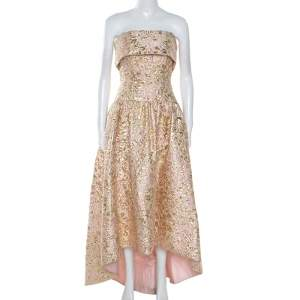 Oscar De La Renta Pink and Gold Brocade Strapless Asymmetrical Dress S
