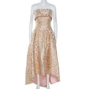 فستان أوسكار دي لا رينتا بلا حمالات حافة غير متماثلة بروكاد وردي و ذهبي S