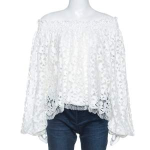 Oscar De La Renta White Lace Smocked Off shoulder Top S