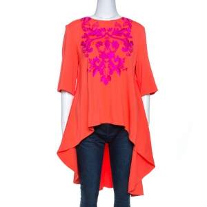 Oscar de la Renta Orange Crepe Floral Applique Detail Tunic XL