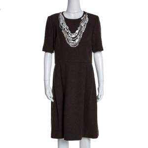 Oscar de la Renta Brown Textured Wool Embellished Short Sleeve Dress L
