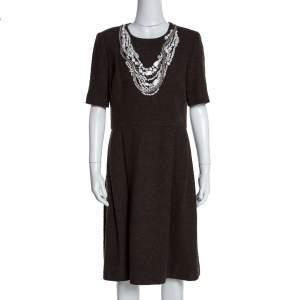 فستان أوسكار دي لا رينتا أكمام قصيرة مزخرف صوف منقوش بني L