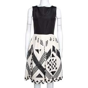 Oscar de la Renta Monochrome Silk Embellished Sleeveless Dress S