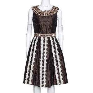 Oscar de la Renta Brown Silk Embellished & Pleated Sleeveless Dress S