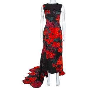 Oscar De La Renta Black Tufted Rose Fil Coupé Gown XL