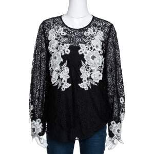 Oscar de la Renta Black & White Floral Lace Long Sleeve Blouse L
