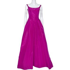 Oscar de la Renta Pink Silk Sleeveless Evening Gown S