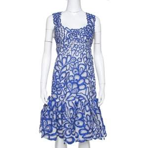 Oscar de la Renta Blue Floral Embroidered Mesh Sleeveless Dress M