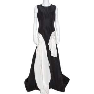 فستان أوسكار دي لا رنتا حرير أسود فيليه متباين مكشكش مقاس كبير - لارج