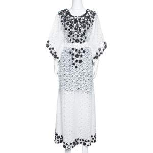 Oscar de la Renta White Lace Floral Appliqued Belted Kaftan M
