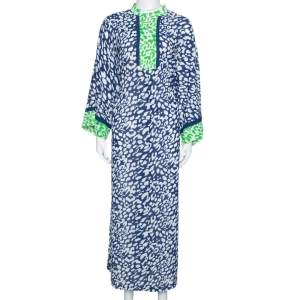 Oscar de la Renta Blue & Green Animal Print Maxi Kaftan Dress XL