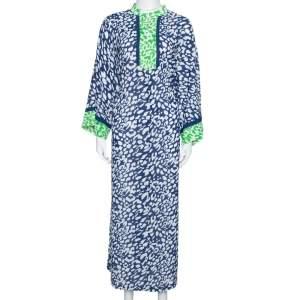 فستان قفطان أوسكار دي لا رينتا ماكسي طباعة حيوان أخضر وأزرق XL