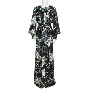 Oscar de la Renta Black Floral Print Silk Draped Maxi Dress L
