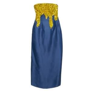 فستان أوسكار دي لا رينتا بلا حمالات مزخرف ترتر حرير أزرق ميدنايت مقاس صغير (سمول)
