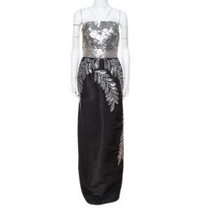فستان اوسكار دي لا رينتا بلا حمالات مزخرف ترتر حرير أسود مقاس كبير (لارج)