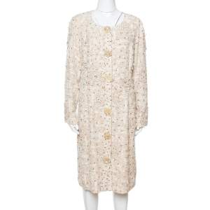Oscar de la Renta Cream Silk Embellished Coat Dress XL
