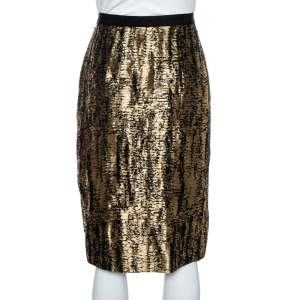 Oscar de la Renta Metallic Black/White Jacquard Knee Length Skirt M