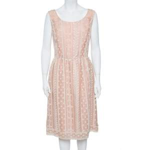 Oscar de la Renta Pale Pink Organza Silk Embroidered Sleeveless Dress XL