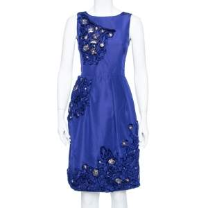 Oscar de la Renta Royal Blue Embellished Silk Sleeveless Sheath Dress XS