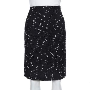Oscar de la Renta Monochrome Tweed Fitted Short Skirt M