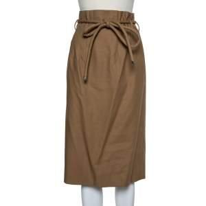 Oscar de la Renta Beige Cotton Paper Bag Waist Belted Midi Skirt M